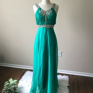 Gorgeous Teal/Jeweled Long Prom/Evening Gown